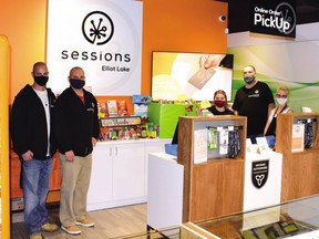 FILE: The staff at Sessions Cannabis in Elliot Lake. Al Duguay, Jason (Jay) Hamilton, Heather Morgan, Chantal Albert and Chris Shantz, recently hosted a food drive for the Elliot Lake Emergency Food Bank. /