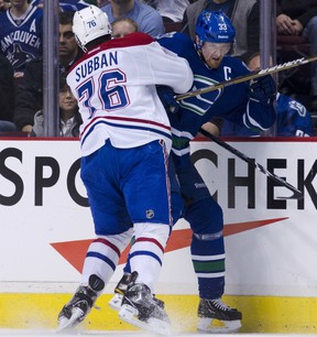 P.K. Subban tatooed Henrik Sedin into the boards a couple of times on Saturday night at Rogers Arena.