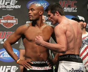 Rivals Anderson Silva and Chael Sonnen are set to meet for a second time at UFC 147 in June. Originally targeted for Sao Paulo, Brazil, the event could be shifting to Rio de Janeiro. (Photo by Josh Hedges/Zuffa LLC/Zuffa LLC via Getty Images)