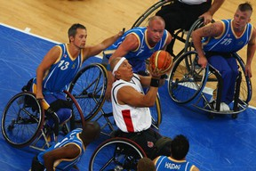 Richard Peter at the 2008 Beijing Paralympics, taking down Sweden singlehandedly. Getty Images file photo.