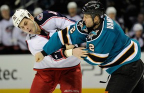 """Jim Vandermeer shows some """"push-back"""" in a scuffle with Blue Jackets' Jared Boll."""