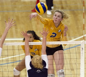 UBC Thunderbirds' Lisa Barclay was a potent force Thursday, helping the hosts sweep Mt. Royal in the conference semifinals at War. (Richard Lam, UBC athletics)