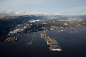 Douglas Channel, the proposed termination point for an oil pipeline in the Enbridge Northern Gateway Project, is pictured in an aerial view in Kitimat. (THE CANADIAN PRESS files)