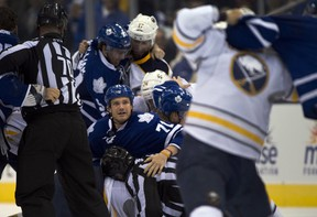 David Clarkson of the Toronto Maple Leafs looks up during a brawl Sept. 22, 2013. CP photo.