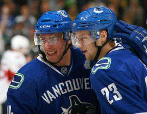 Alex Edler returns tonight from a Dec. 3 knee strain and the Vancouver Canucks defenceman will have his hands full with the aggressive Los Angeles Kings. (Getty Images via National Hockey League).
