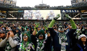 SEATTLE - DECEMBER 22:  Fans of the Seattle Seahawks cheer against the Arizona Cardinals on December 22, 2013 at CenturyLink Field in Seattle, Washington.  (Photo by Jonathan Ferrey/Getty Images)