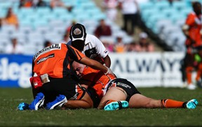 Liam Fulton of the NRL's Wests Tigers has suffered four concussions in just six games this season.  (Photo by Mark Nolan/Getty Images)
