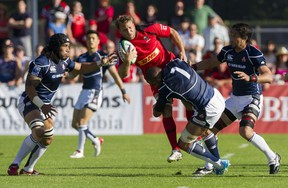 Adama Kleeberger and his Canada mates struggled to fire against Japan on Saturday in Burnaby. (Gerry Kahrmann/PNG)