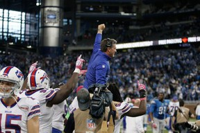 Former Detroit head coach Jim Schwartz reportedly told his Bills defense that if they upset the Lions on Sunday, they'd have to carry him off the field.