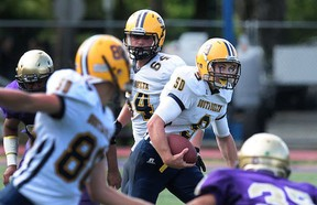 South Delta quarterback Lucas Kirk wracked up 350 all-purpose yards Saturday in his team's win over Vancouver College at O'Hagan. (Nick Procaylo, PNG)
