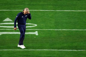 GLENDALE, AZ - FEBRUARY 01:  Head coach Pete Carroll of the Seattle Seahawks looks dejected after defeat to the New England Patriots during Super Bowl XLIX at University of Phoenix Stadium on February 1, 2015 in Glendale, Arizona. The Patriots defeated the Seahawks 28-24.  (Photo by Mike Ehrmann/Getty Images)