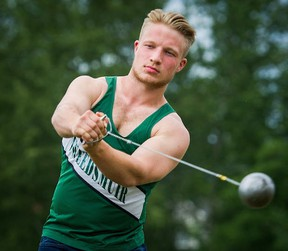 Surrey-Lord Tweedsmuir's Ben Ingvaldson is working as hard on his beard as he is on competing in the Subway BC High School track and field championships this weekend in Langley. (Ric Ernst, PNG photo)