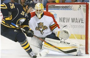 Buffalo's Matt Moulson chases a loose puck after a save by Florida Panthers goaltender Roberto Luongo Jan. 5. Luongo admits this might be the best he's played in his career. 'It's up there,' he says.