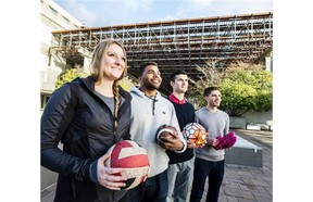 DECEMBER 9,  2015. SFU student athletes who do very well academically. From left to right:  Christine Howlett (volleyball), Jordan Herdman (football), Brandon Watson (soccer) and Lorenzo Smith (cross country).