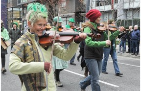The St. Patrick's Day parade makes its way down Howe Street in 2015.