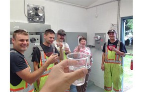Toasting victory are Clearbrook Waterworks District workers, from left, James Wiens, Thomas Page, Ryan Federa, Kathleen Selinger and Clint Holness.   — Jason Hildebrandt photo