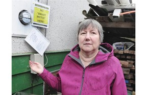 Liz Walker points out the analog meter still in opeation at her Surrey home.   Nick Procaylo/PNG