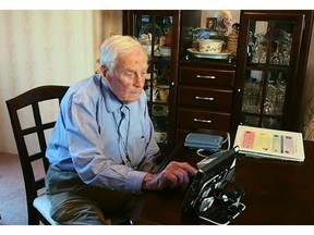 Nanaimo heart patient Maurice King, 89, uses the home health monitoring system offered by Vancouver Island Health Authority in 2016.
