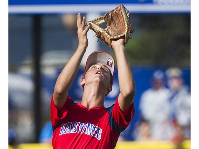 Hastings Community Little League #24 Loreto Siniscalchi looks for the ball as he makes a catch during play against Alberta's Southwest Little league in a semi final game at the Canadian Little League Championships, Vancouver, August 12 2016.
