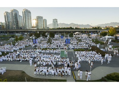 A portion of the 6000 people who were at Le Diner en Blanc at Concord Pacific Place Vancouver, August 18 2016.