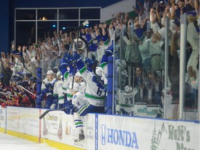 Comets players and fans celebrate during the 2015 Calder Cup playoffs.