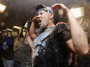 Toronto Blue Jays pitcher Aaron Sanchez celebrates the team's 2-1 win over the Red Sox on Sunday in Boston. The Jays will play the Baltimore Orioles on Tuesday night at the Rogers Centre in a wild-card playoff game.