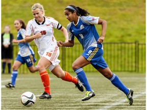 UBC Thunderbirds' forward Jasmin Dhanda, right, scored four goals in her team's 8-0 home-field win over Thompson Rivers last Saturday.