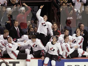 Canada celebrates their win over Russia at the 2006 world juniors at what was then GM Place  in Vancouver.