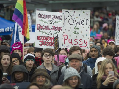 Thousands attend the Women's March in Vancouver, B.C., January 21, 2017.