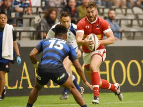 Vancouver's Brock Staller in action for Rugby Canada.