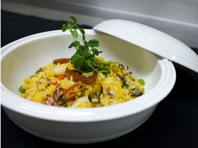 With dishes like the seafood paella (above), The Buffet at Unlisted offers plenty of options to fuel a night on the town.