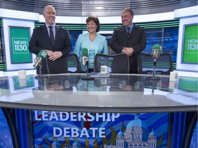 B.C. NDP leader John Horgan (left) Liberal leader Christy Clark and Green Party leader Andrew Weaver following the leaders debate in Vancouver.