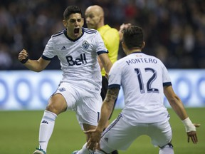 Matías Laba and Fredy Montero celebrate Laba's goal against the LA Galaxy during Saturday's MLS game at B.C. Place.