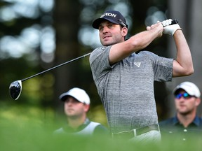Ryan Williams of Vancouver hits his tee on the first hole during round three of the Mackenzie Investments Open at Club de Golf Les Quatre Domaines last week un Mirabel, Que.