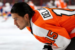 Michael Del Zotto was slowed by injuries in Philadelphia. (Getty Images).