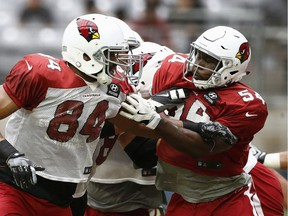 Arizona Cardinals tight end Jermaine Gresham (84) makes a block on linebacker Alex Bazzie (54) during NFL football training camp in August in Glendale, Ariz. Bazzie wanted to make sure he had shaken his NFL hangover. The defensive lineman signed a contract with the B.C. Lions through the rest of the season earlier this week, rejoining the CFL club where played from 2014 to 2016 before bouncing between three teams south of the border over a nine-month span.