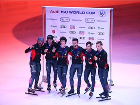 Audi ISU World Cup Short Track Speed Skating - Dordrecht  DORDRECHT, NETHERLANDS - OCTOBER 08:  Team of Canada celebrate with the gold medal after the Mens 5000m Relay A final race during the Audi ISU World Cup Short Track Speed Skating at Optisport Sportboulevard on October 8, 2017 in Dordrecht, Netherlands.  (Photo by Oliver Hardt / Bongarts /Getty Images) ORG XMIT: 775023735 Oliver Hardt, Bongarts/Getty Images