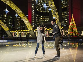 Ice skating at Nathan's Phillip Square is about as 'Holidays in Toronto' as it gets.