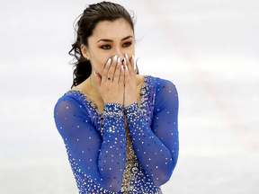 Canada's Gabrielle Daleman reacts after competing in the Team Event Ladies Single Skating Free Skate.