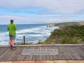 This hiker has almost reached the 12 Apostles, the end point and highlight of the Great Ocean Walk, on Australia's southeast coast.