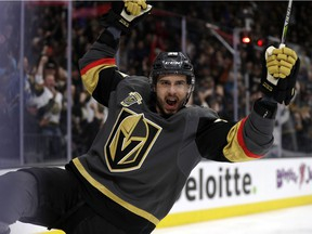 Vegas Golden Knights winger Thomas Hyka reacts after scoring Friday.
