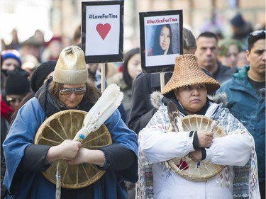 VANCOUVER. February 24 2018. People gather outside the CBC in support of the family and friends of Tina Fontaine, as part of a National day for Tina Fontaine, Vancouver, February 24 2018.