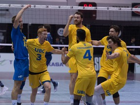 The UBC Thunderbirds defeated the two-time defending national champion Trinity Western Spartans 3-0 (25-22, 25-18, 27-25) in the USport national final on Sunday at McMaster University in Hamilton.