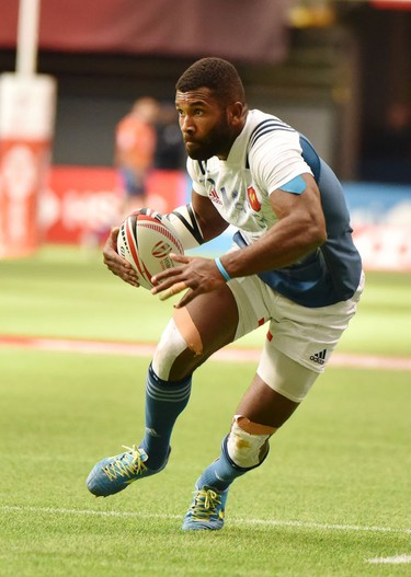 France 7's Tavite Veredamu(9)carries the ball in HSBC Canada Men's Sevens action at BC Place Stadium in Vancouver, British Columbia on March 11, 2018. Vancouver is the 6th round, played March 10-11, 2018, in the HSBC Men's Sevens 10 round world series.