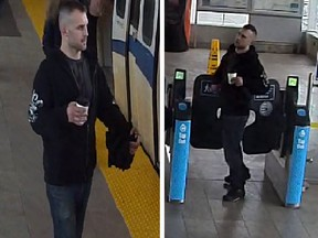Metro Vancouver Transit Police asked the public to help identify a man who allegedly threw his coffee on a woman and pushed her to the ground at New Westminster SkyTrain station on April 6. A 27-year-old Coquitlam man is now facing charges.