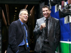 Rick Celebrini, right, has left his position as director of rehabilitation with the Vancouver Canucks to join the Golden State Warriors of the NBA. Celebrini is shown here with Canucks associate physician Dr. Jeff Purkis in 2015.