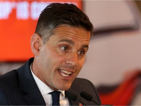 John Herdman, Canada's men's soccer team coach, speaks to the media after receiving a successful United 2026 FIFA World Cup bid at BMO Field in Toronto on June 13.
