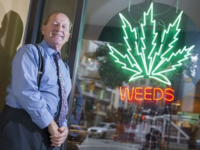 Don Briere, owner of Weeds Glass and Gifts, outside his Richards St. cannabis store.