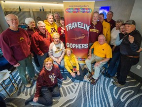University of Minnesota Golden Gophers gather for a group shot in Vancouver, BC, Nov. 20, 2018.