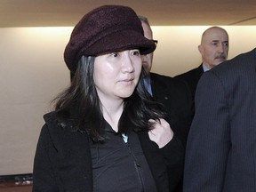 Huawei executive Meng Wanzhou arrives at B.C. Supreme Court in Vancouver on Monday.